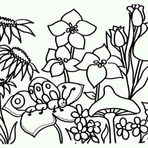 All Flower Are Blooming On Springtime Coloring Page