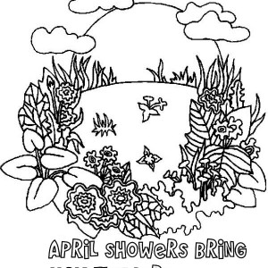April Shower Bring May Flower On Springtime Coloring Page