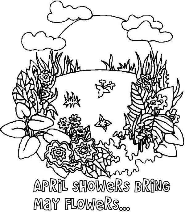 april showers coloring pages April Shower Bring May Flower On Springtime Coloring Page  april showers coloring pages