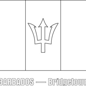 Barbados Nation Flag Coloring Page