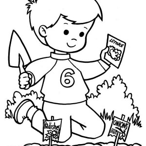 Kids Planting Vegetable Seed On Springtime Coloring Page