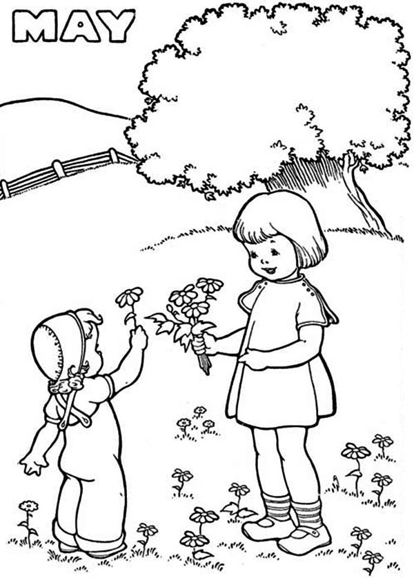 May Is The Month Of Springtime Coloring Page Download