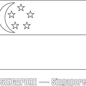 Nation Flag Of Singapore Coloring Page