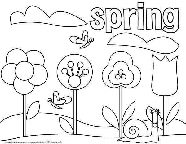 spring coloring pages to print Picture Of Springtime Coloring Page   Download & Print Online  spring coloring pages to print