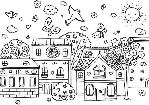 Springtime Coloring Page For Kids - Download & Print Online