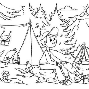 A Boy Sitting At Summer Camp Coloring Page