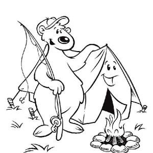 A Fishing Bear And A Tent On Summer Camp Coloring Page