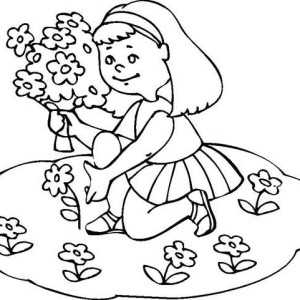 A Girl Collecting Flower On Summertime Coloring Page
