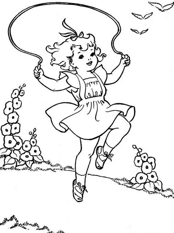 A Girl Playing Rope on Summertime