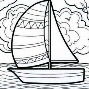 Adventure With Sailing Boat On Summertime Coloring Page