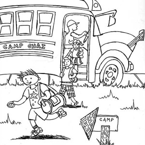 Arrived On Summer Camp Location With School Bus Coloring Page