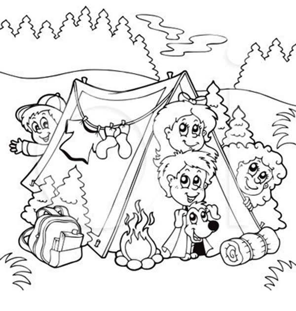 Bunch Of Kids And A Dog On Summer Camp Coloring Page Download