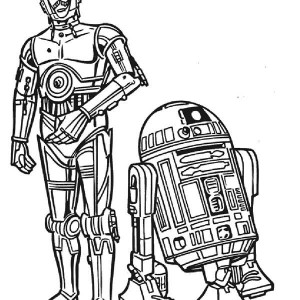 C3PO And R2D2 The Star Wars Droids Coloring Page