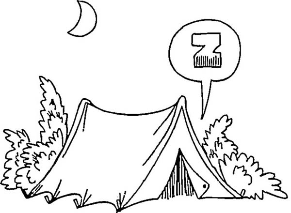 Camping In The Night On Summer Camp Coloring Page Download Print