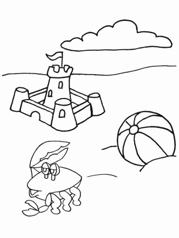 Crying Crab At Beach On Summertime Coloring Page