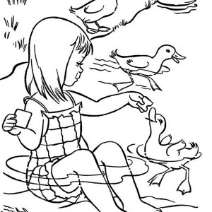 Feeding Duckling On Summertime Holiday Coloring Page