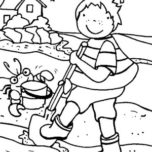Kid Playing Sand Castle With Crab On Summertime Coloring Page