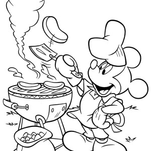 Mickey Mouse Summertime Barbeque Coloring Page