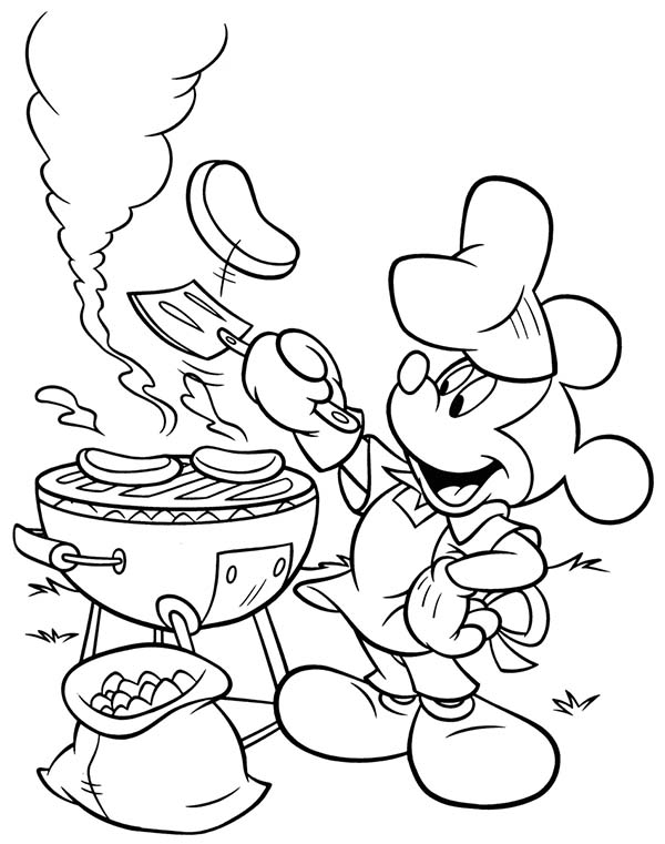 Mickey Mouse Summertime Barbeque Coloring Page Download