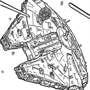Millenium Falcon Flying Through Space In Star Wars Coloring Page