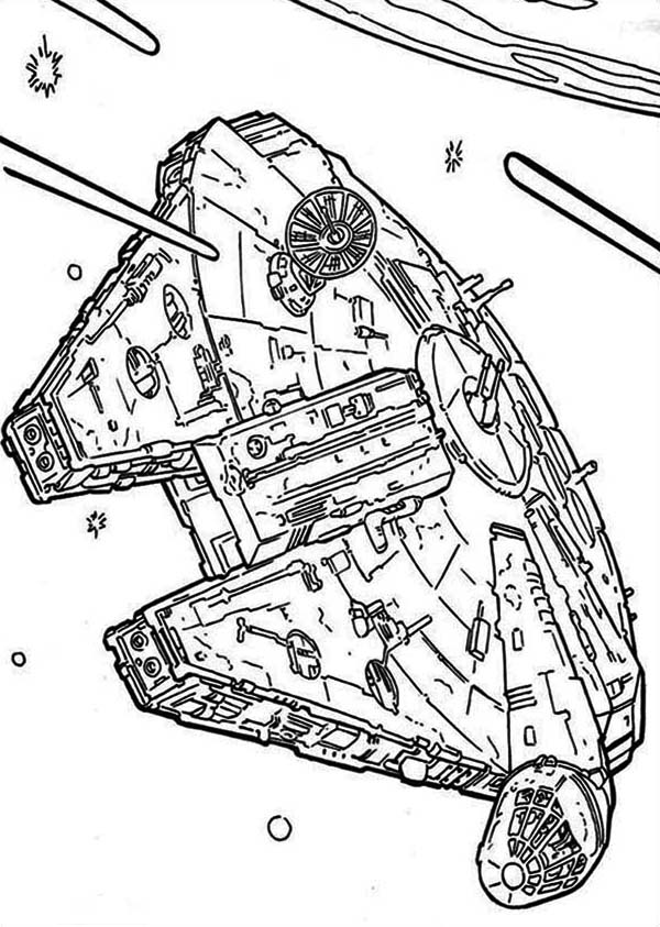 Millenium Falcon Flying Through Space In Star Wars ...