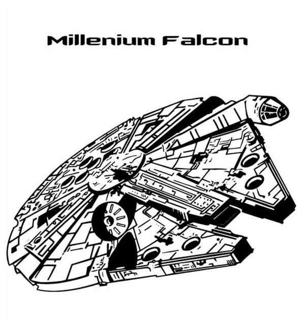 Millenium Falcon In Star Wars Coloring Page Download