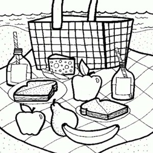 Picnic Launch On Summertime Coloring Page