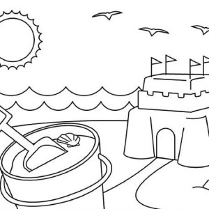 Playing Sand Castle On Summertime Coloring Page