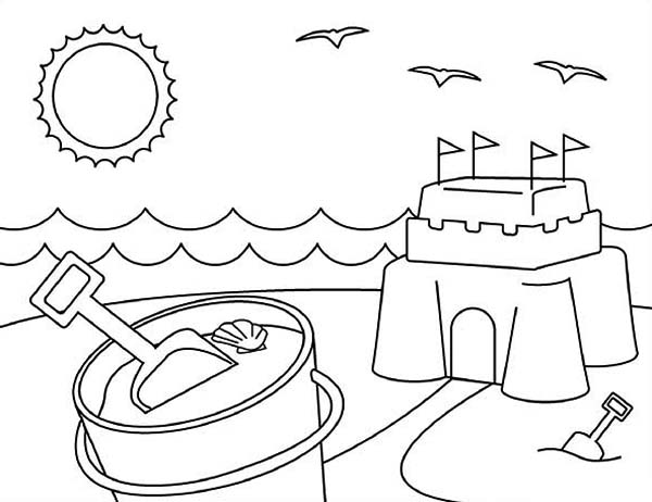 Playing Sand Castle On Summertime Coloring Page Download