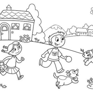 Playing With Friends And Pets On Summertime Holiday Coloring Page