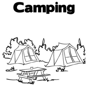 Summer Camp Tent In The Forest Coloring Page