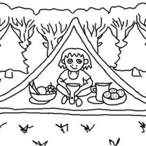 Summer Camp On Summertime Coloring Page