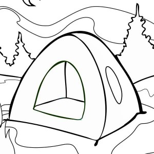 Summer Tent On Summer Camp Coloring Page
