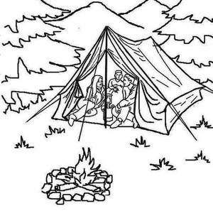 Summer Vacation At Summer Camp Coloring Page