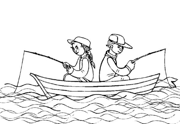 Summertime Fishing On Boat Coloring Page - Download ...