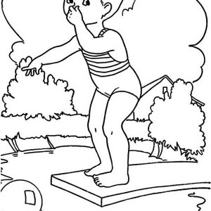Summertime Holiday We Swim In The Pool Coloring Page