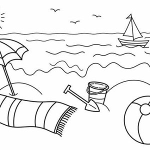 Summertime Holiday At The Beach Coloring Page