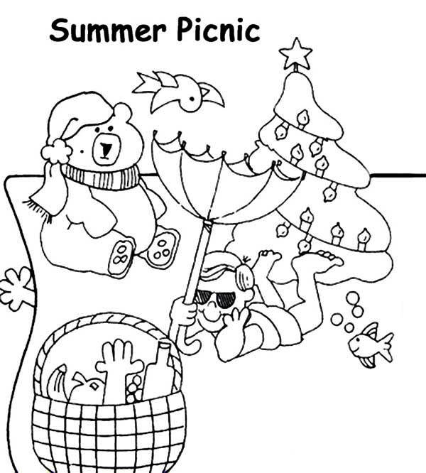 summertime picnic coloring page print