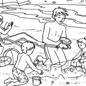 Summertime Vacation At The Beach Coloring Page