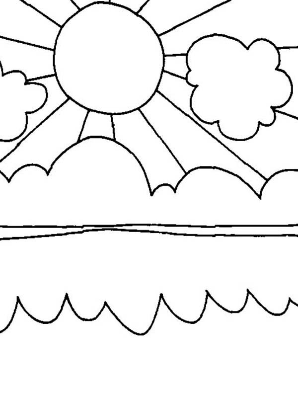 Sun Shiny Day On Summertime Coloring Page Download
