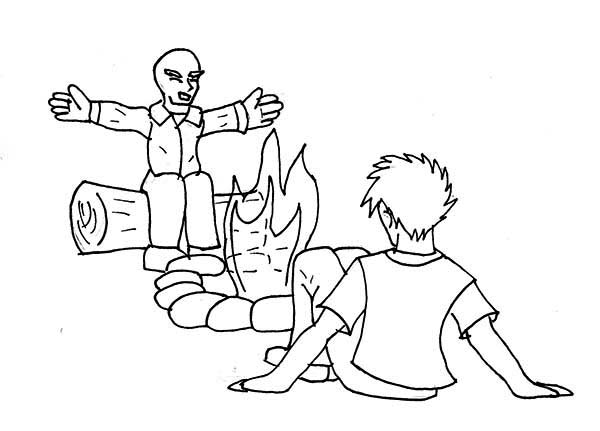 Telling Story Summer Camp Campfire Coloring Page Download Print