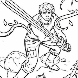 The Great Luke Skywalker Standby With Light Saber In Star Wars Coloring Page