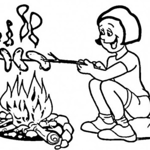Toasting Hot Dogs On Summer Camp Coloring Page