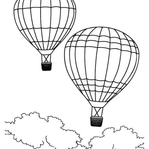 Two Air Balloons On Summertime Coloring Page