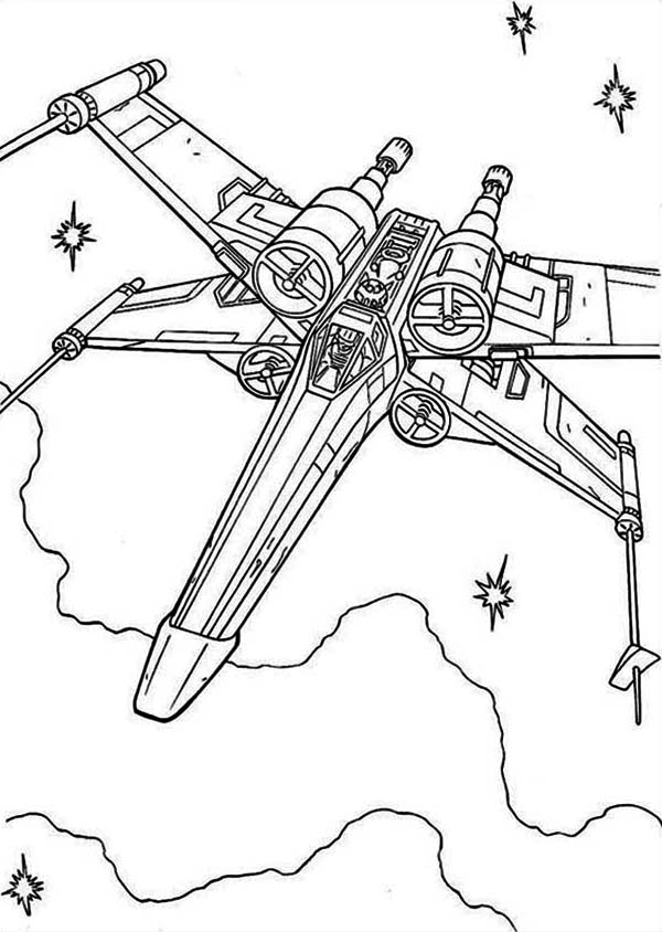 X Wing Fighter In Star Wars Coloring Page Download