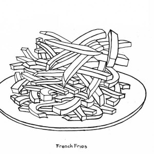 A Plate Of French Fries Junk Food Coloring Page