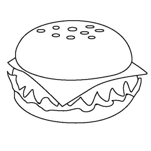 Appetizing Cheeseburger Junk Food Coloring Page