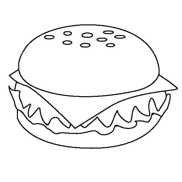 appetizing cheeseburger junk food coloring page  download