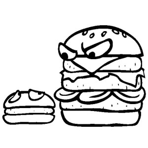 Big Burgers Is Mad To Little Burgers Junk Food Coloring Page