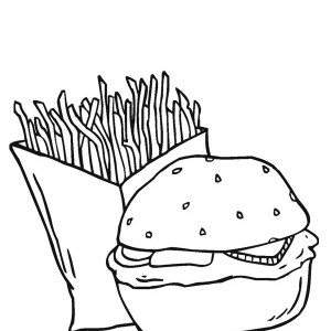 Dynamic Duo Fries And Burger Junk Food Coloring Page